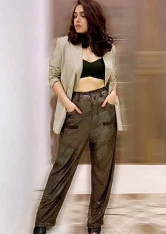 Olive sequins jogger pants by BHUMI PEDNEKAR IN DEME BY GABRIELLA-CELEBRITY CLOSET