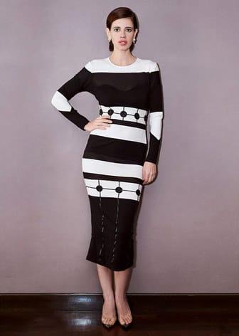 Black Monochromatic Embroidered Bodycon Dress by KALKI KOECHLIN IN SAMEER MADAN-CELEBRITY CLOSET