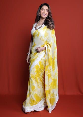 Yellow & Ivory Printed Saree Set by MADHURI DIXIT IN VARUN BAHL-CELEBRITY CLOSET