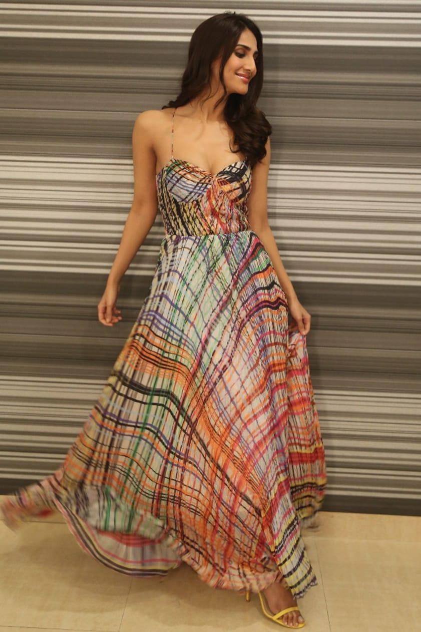 Blush Pink Digital Printed Maxi Dress by VAANI KAPOOR IN SAAKSHA & KINNI-CELEBRITY CLOSET