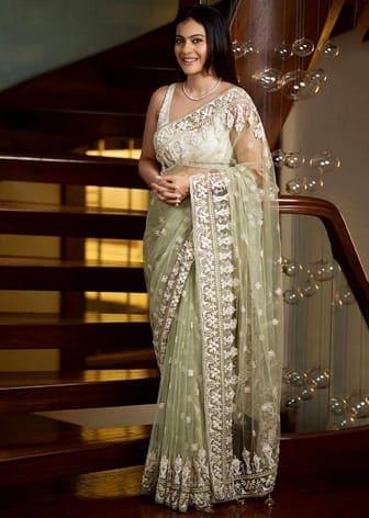 Sage Green & Calming White Embroidered Saree Set by KAJOL IN ANITA DONGRE-CELEBRITY CLOSET