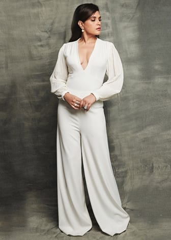 Ivory pleated sleeves jumpsuit by RICHA CHADDA IN SWATEE SINGH-CELEBRITY CLOSET