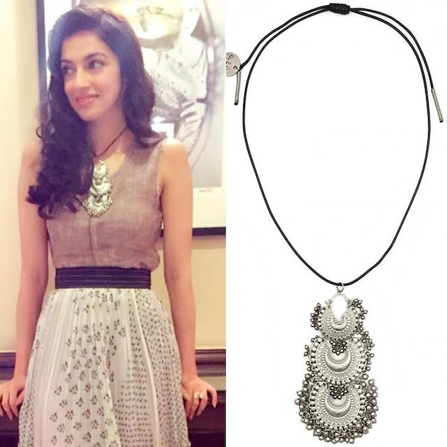 Silver plated triple jhumki pendant necklace by Ritika Sachdeva