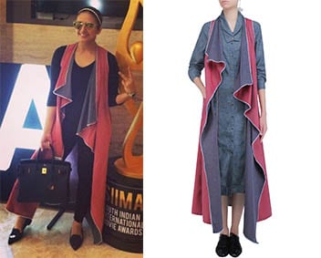 Pink and Grey Reversible Long Cape Jacket by Aaylixir