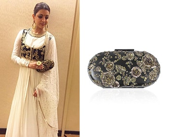 Black Floral Embroidered Capsule Box Minaudiere Clutch by Sabyasachi