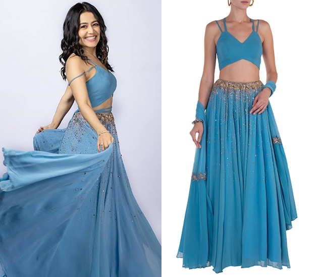 Blue and Gold Embellished Lehenga Set by Shloka Khialani