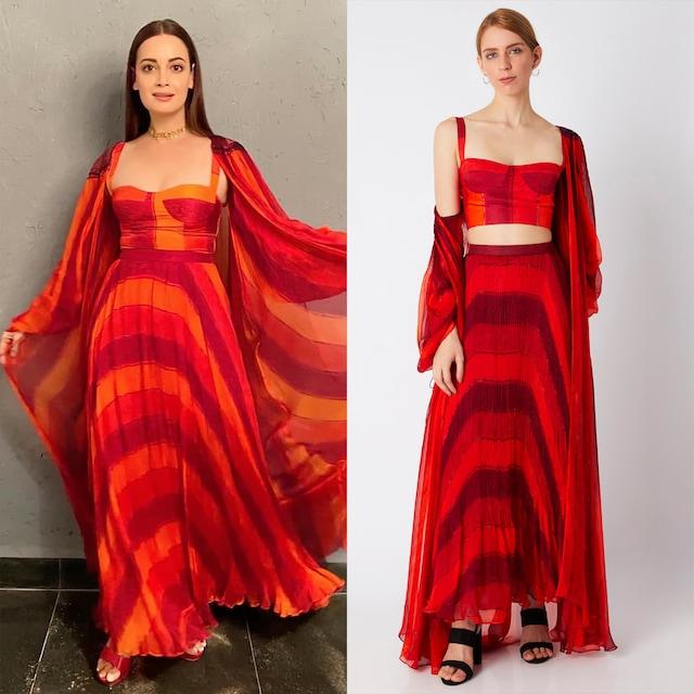 Red Micro Pleated Skirt by Saaksha & Kinni