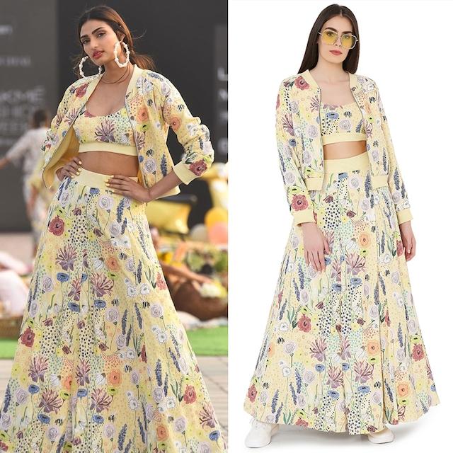 Yellow Printed Skirt Set by Payal Singhal