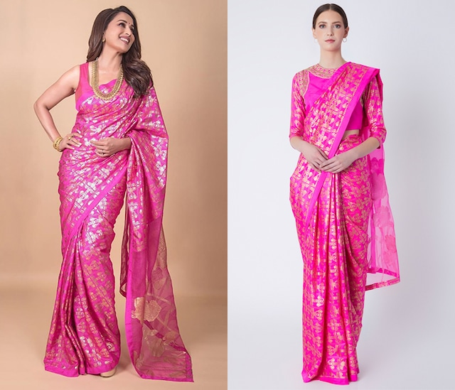 Cabaret Pink Foil Printed & Embroidered Saree Set by Masaba