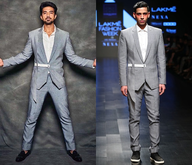 Grey Striped Asymmetric Blazer With Side Belt by Sayantan Sarkar Men