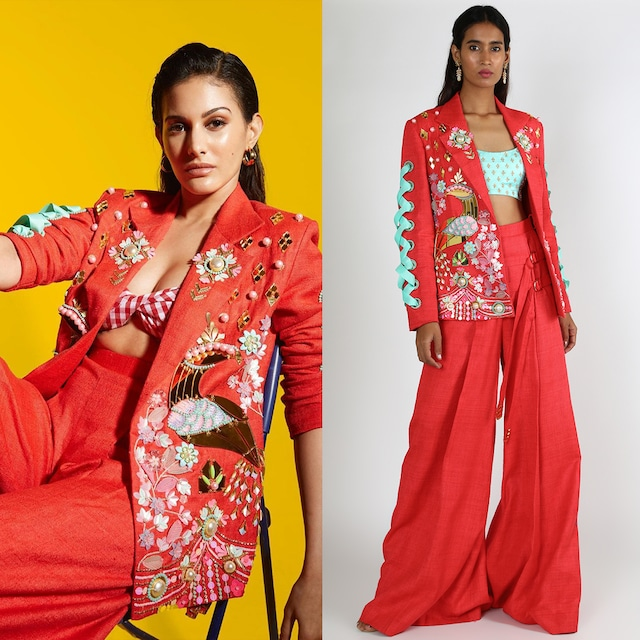 Red & Mint Embroidered Pant Set by Papa Don'T Preach By Shubhika