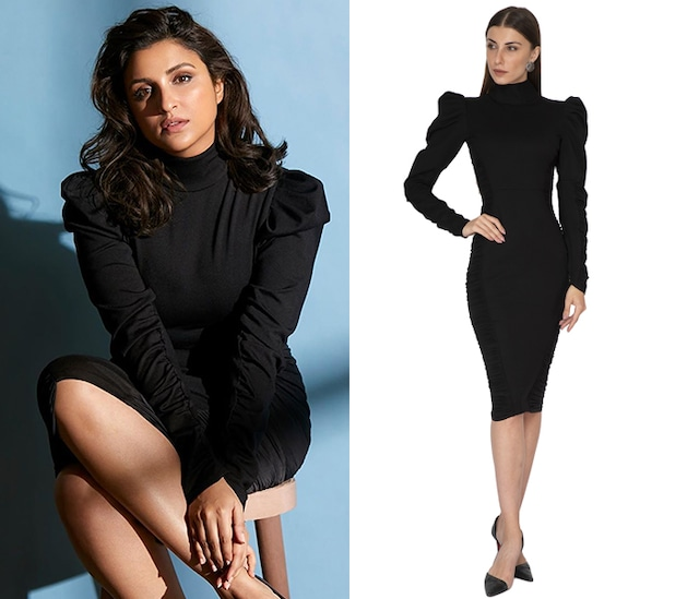 Black Bodycon Dress With Puff Sleeves by Sameer Madan