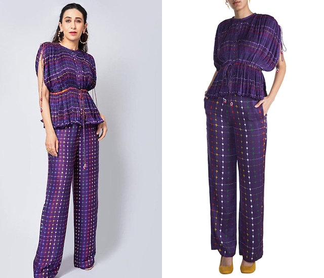 Purple Embroidered & Printed Kaftan Blouse by Saaksha & Kinni