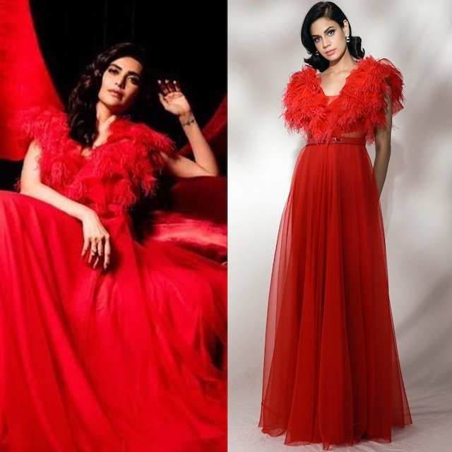 Red Embroidered & Ruffled Gown by Dolly J