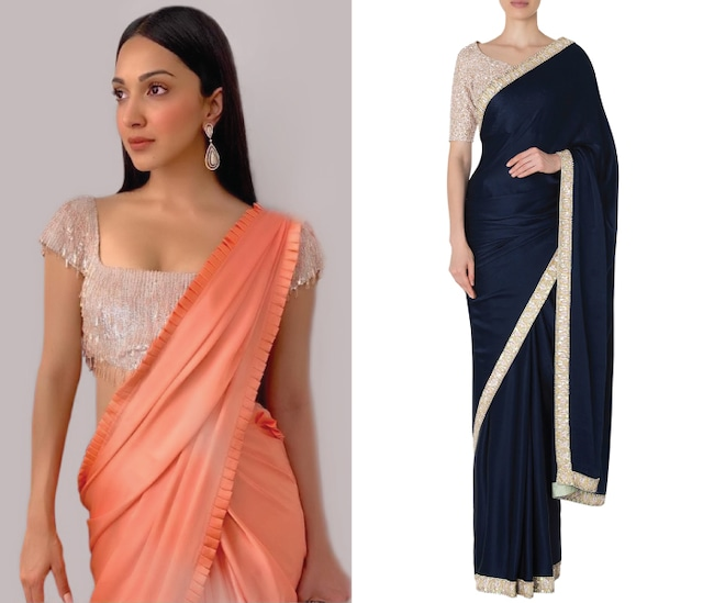 Navy Blue Embroidered Saree with Blouse Set by Manish Malhotra