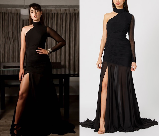 Black One Shoulder Ruched Gown by Deme by Gabriella