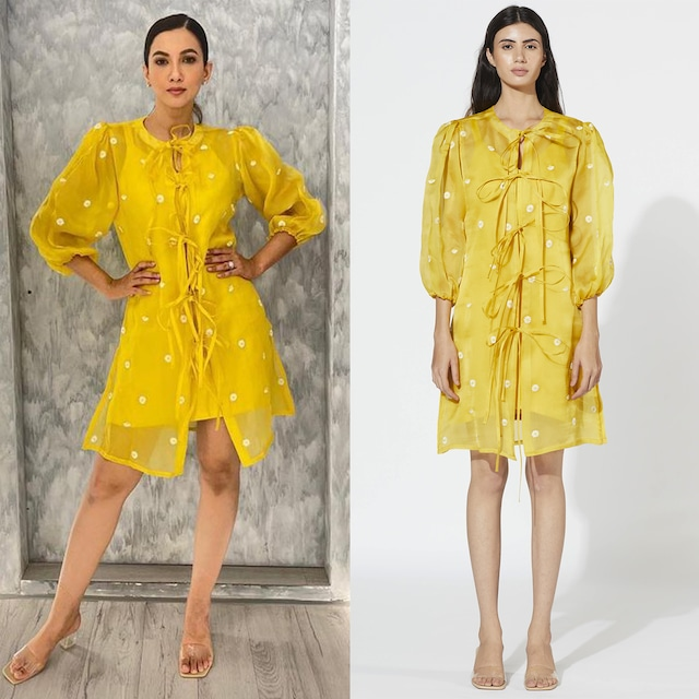 Yellow Embroidered Tie-Up Dress by Meadow
