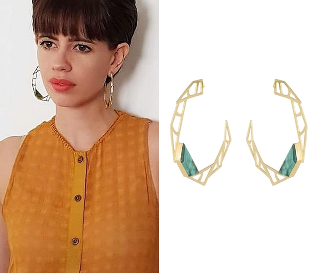 Gold Plated Handmade Malachite Stone Hoop Earrings by Varnika Arora