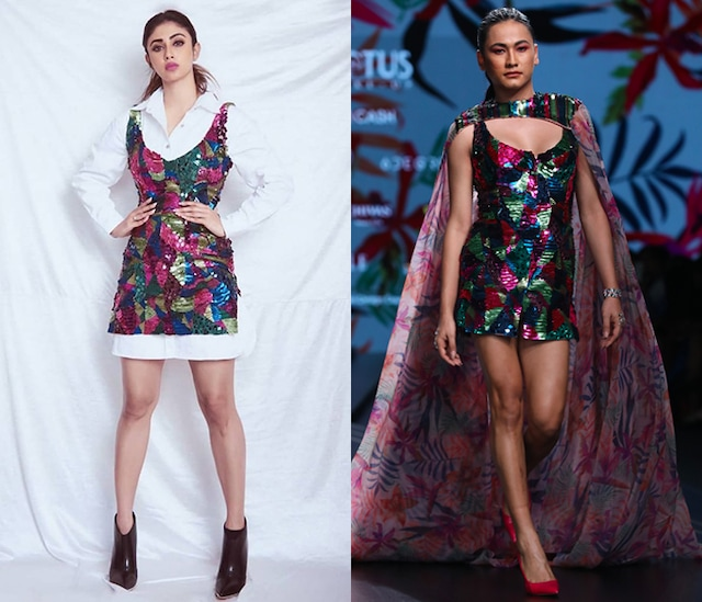 Multi Colored Embellished Dress With Printed Cape by Mahima Mahajan