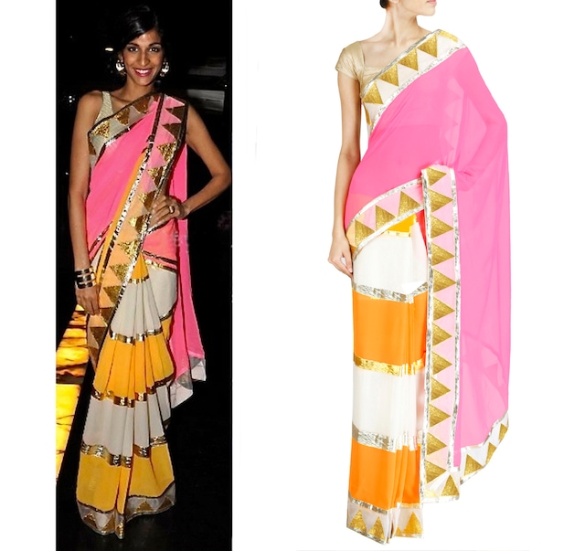 Offwhite, Mango & Pink Saree with embroidered Borders by Abu Jani and Sandeep Khosla