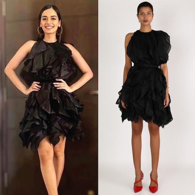 Black Ruffled Dress With Belt by Shriya Som