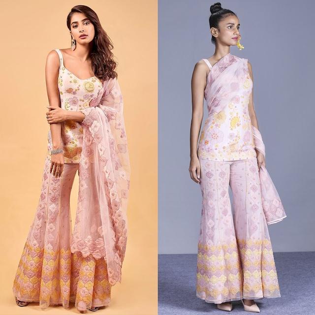 Blush Pink Embroidered Sharara Set by Mishru