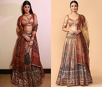 Rust Embroidered Lehenga Set by Tarun Tahiliani