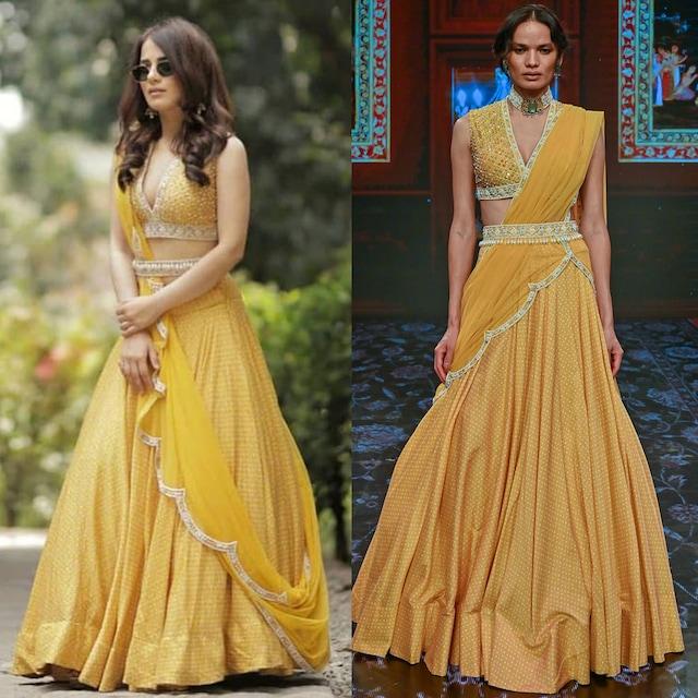 Yellow Embroidered Lehenga Set by Ridhi Mehra