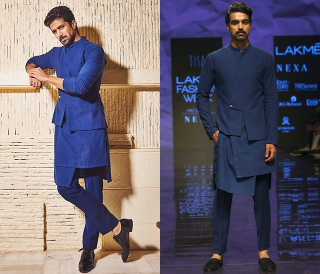 Navy Blue Kurta Set With Bandi Jacket by TISA