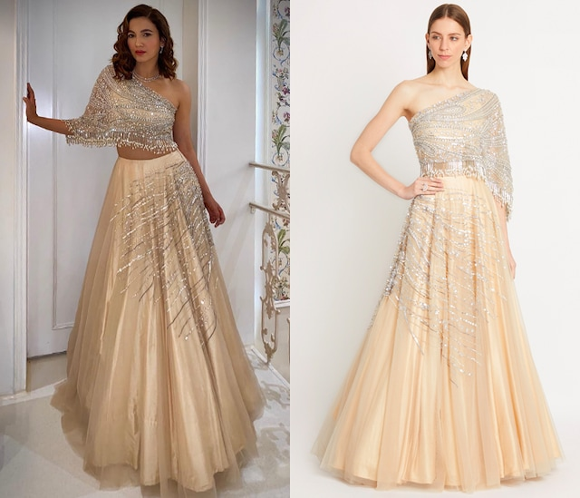 Nude Embroidered Lehenga Skirt With Draped Blouse by Dilnaz Karbhary