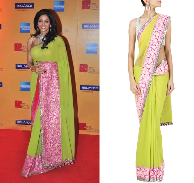 Lime green net and georgette Sari with shocking and pale pink embroidered and sequin border with golu's. by Manish Malhotra