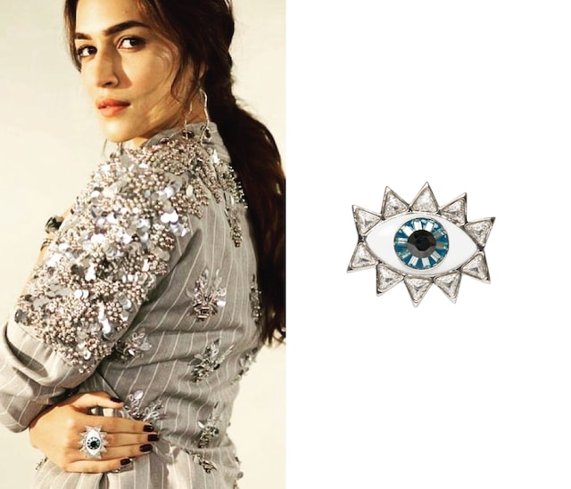Silver Plated Evil Eye Ring with Swarovski Crystals by Valliyan by Nitya Arora