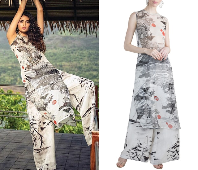 Ivory Westeros Wrath Sheer Tunic With Baggy Trousers by Masaba X GOT