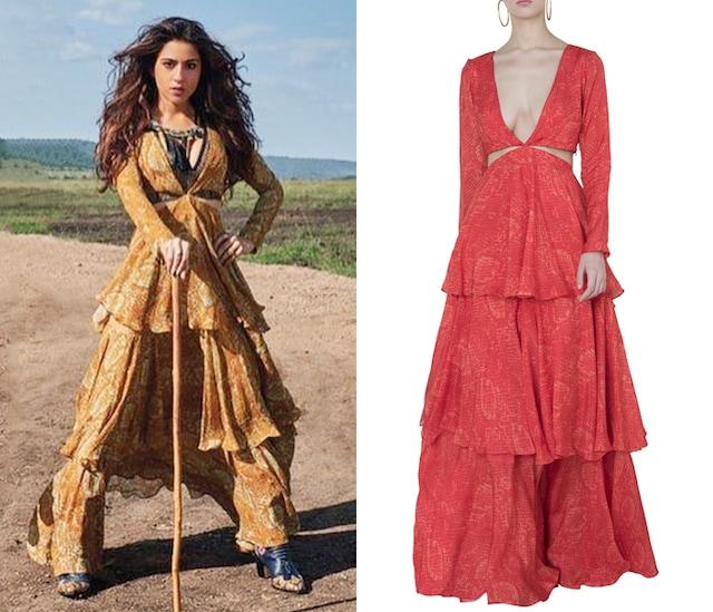Orange printed ruffle gown by DEME BY GABRIELLA