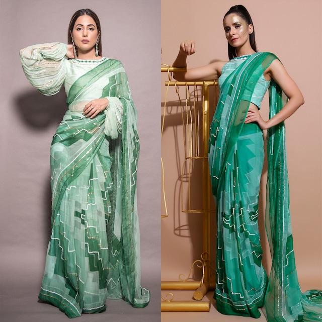 Green Printed & Embroidered Saree Set by Pallavi Jaipur