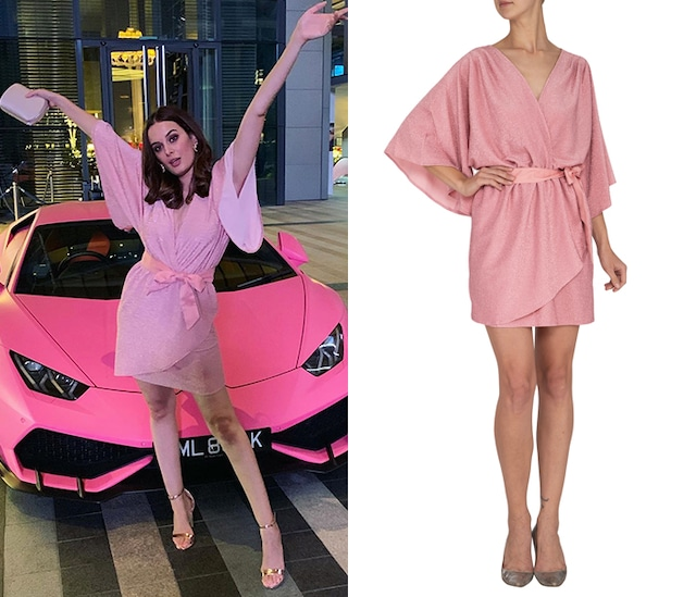 Pink Mini Dress With Belt by Renge