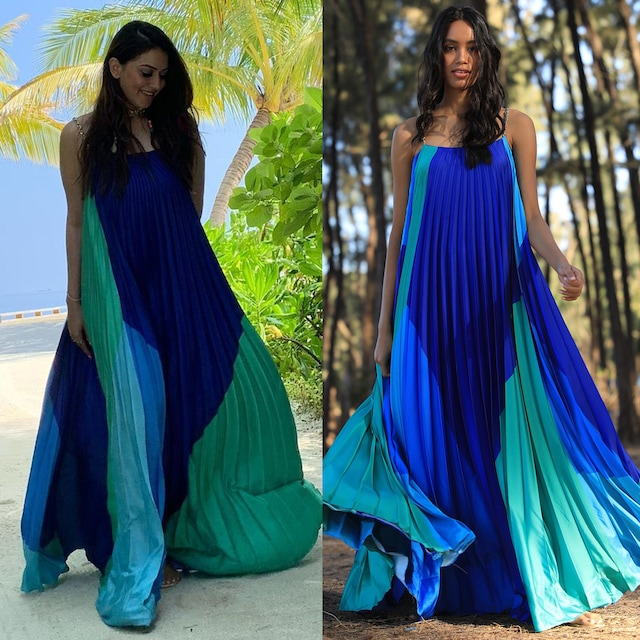Blue & Green Digital Printed Dress by Zwaan