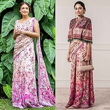 Blush Pink Printed & Embroidered Concept Saree Set by Tarun Tahiliani