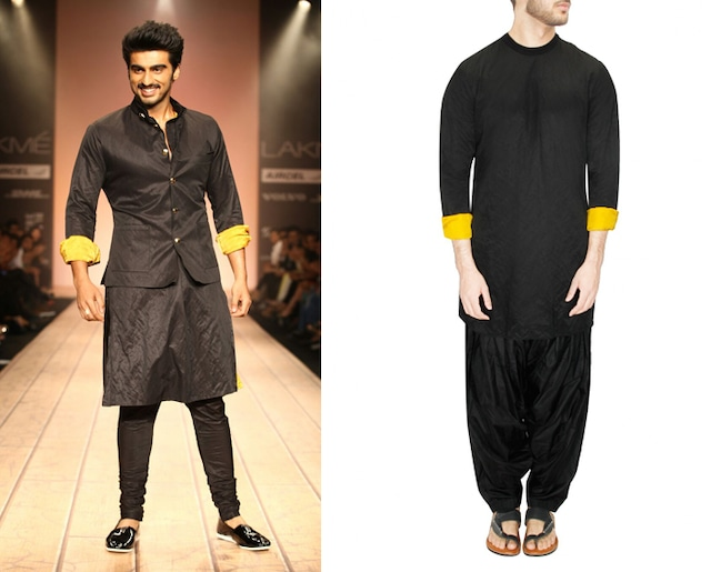 Black and mustard ribbed neck kurta with black silk patiala pants by Kunal Rawal