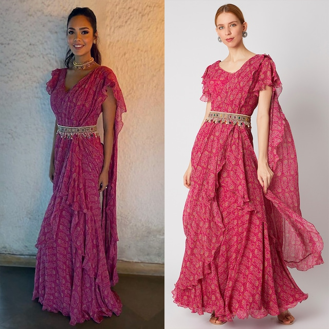 Berry Pink Printed & Embroidered Saree Gown With Belt by Ridhi Mehra