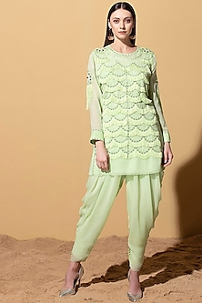 Mint Green Embroidered Tunic With Dhoti by AM:PM