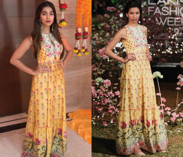 Yellow Printed Maxi Dress by Anita Dongre