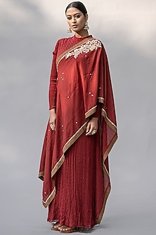 Red Embellished Dress by Abstract By Megha Jain Madaan-ABSTRACT BY MEGHA JAIN MADAAN