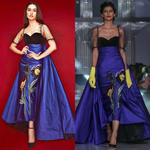 Electric Blue Dress With Sequins Patch Embroidery by Gauri and Nainika