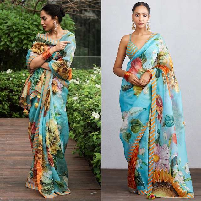 Blue Printed & Embroidered Saree Set by TORANI