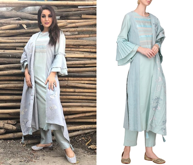 Grey and Blue Patra Embroidered Kurta Set by Devnaagri