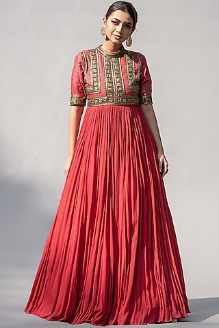Raspberry Embellished Anarkali by Abstract By Megha Jain Madaan