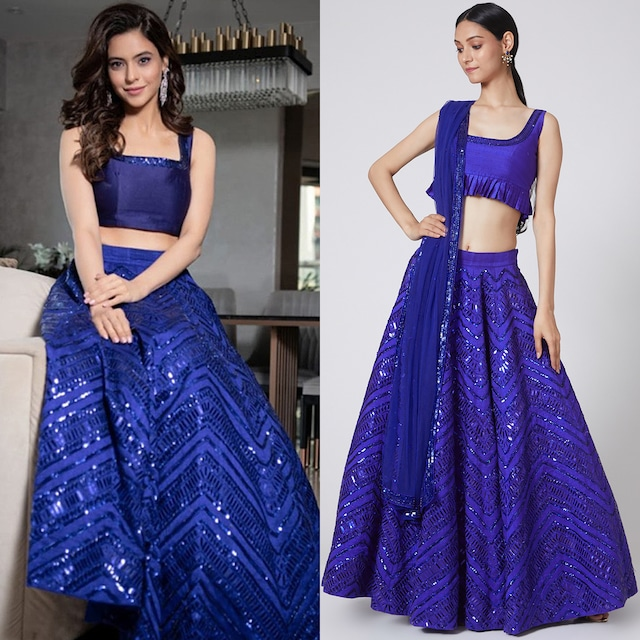 Cobalt Blue Embroidered Lehenga Set by Payal Zinal