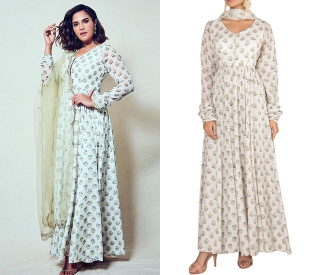 White Printed Anarkali With Dupatta by Paulmi & Harsh