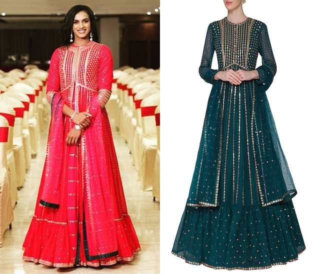 Teal Embroidered Anarkali Gown with Dupatta by Vvani by Vani Vats